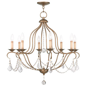 Chesterfield Antique Gold Leaf 28-Inch Eight-Light Chandelier