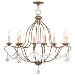 Chesterfield Antique Gold Leaf Eight Light Chandelier