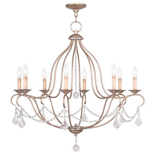 Chesterfield Antique Silver Leaf Eight Light Chandelier
