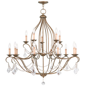 Chesterfield Antique Gold Leaf 15 Light Chandelier