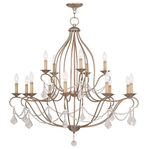 Chesterfield Antique Silver Leaf 15 Light Chandelier