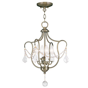 Chesterfield Antique Brass Four Light Convertible Chain Hang and Ceiling Mount