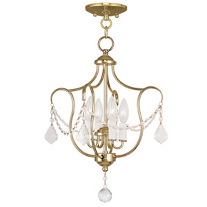 Chesterfield Polished Brass Four Light Convertible Chain Hang and Ceiling Mount