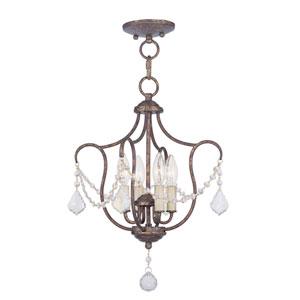 Chesterfield Venetian Golden Bronze Four Light Convertible Chain Hang with Semi-Flush Mount