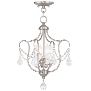 Chesterfield Brushed Nickel Four Light Convertible Chain Hang and Ceiling Mount