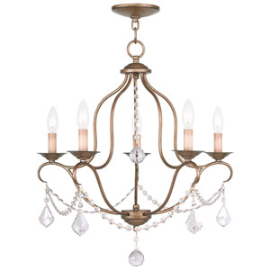Chesterfield Antique Gold Leaf Five Light Chandelier