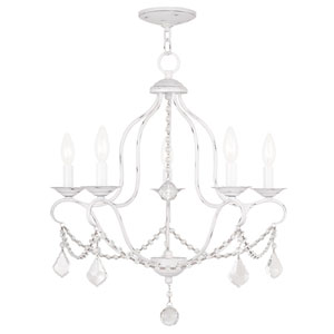 Chesterfield Antique White Five Light Chandelier