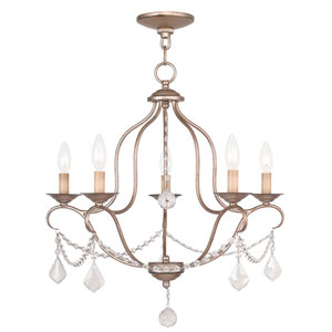 Chesterfield Antique Silver Leaf Five Light Chandelier