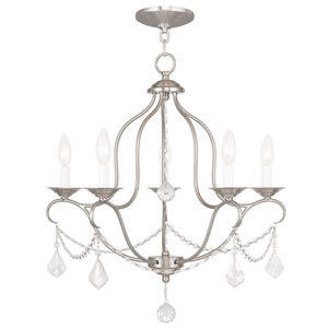 Chesterfield Brushed Nickel Five Light Chandelier