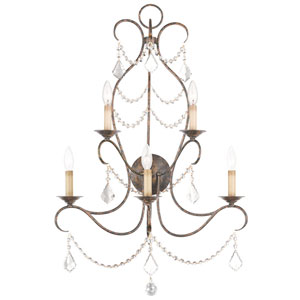 Chesterfield Hand Applied Venetian Golden Bronze 24-Inch Five-Light Bath Sconce