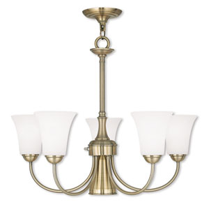 Ridgedale Antique Brass 25.5-Inch Six-Light Dinette Chandelier with Satin Opal White Glass