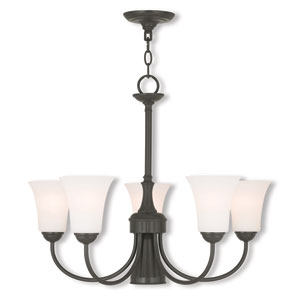 Ridgedale English Bronze 25.5-Inch Six-Light Dinette Chandelier with Satin Opal White Glass