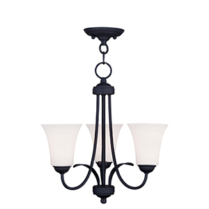 Ridgedale Black Three Light 17.5-Inch Convertible Chain Hang and Semi-Flush Mount