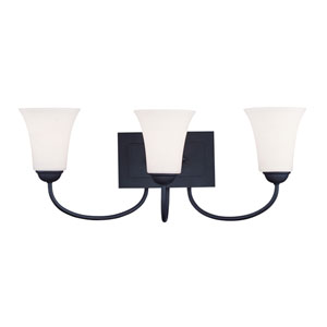 Ridgedale Black Three-Light Bath Fixture