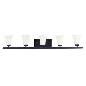 Ridgedale Black Five Light 9-Inch Bath Light