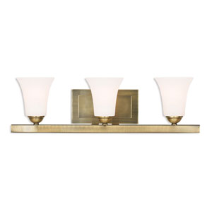 Ridgedale Antique Brass 25-Inch Three-Light Bath Vanity