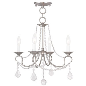 Pennington Brushed Nickel Four Light Convertible Chain Hang and Ceiling Mount