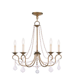 Pennington Antique Gold Leaf Five Light Chandelier