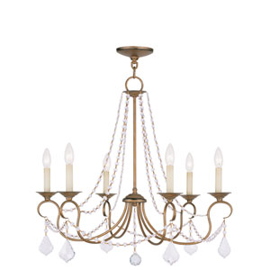 Pennington Antique Gold Leaf Six Light Chandelier