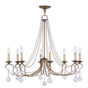 Pennington Antique Gold Leaf Eight Light Chandelier