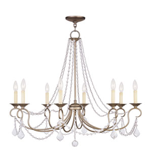 Pennington Antique Silver Leaf Eight Light Chandelier