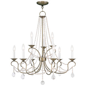 Pennington Antique Brass Nine Light Chandelier