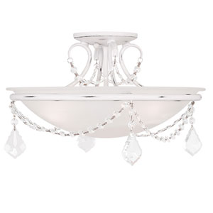 Pennington Antique White Three Light Ceiling Mount