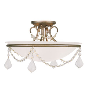 Pennington Antique Silver Leaf Three Light 10-Inch Semi-Flush Mount