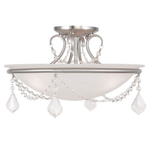 Pennington Brushed Nickel 10-Inch Three Light Ceiling Mount