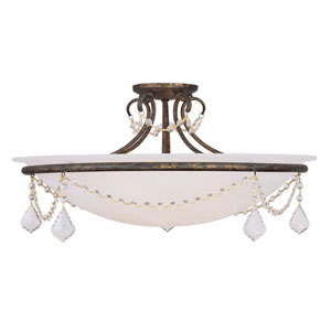 Pennington Venetian Golden Bronze Four Light 24-Inch Semi-Flush Mount