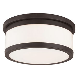 Stafford Bronze 14-Inch Three-Light Flush Mount