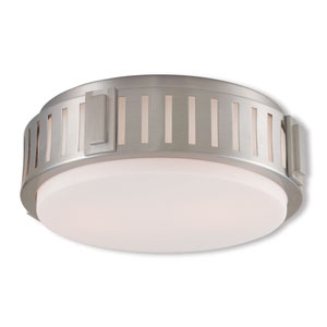 Portland Brushed Nickel Two-Light 13-Inch Ceiling Mount