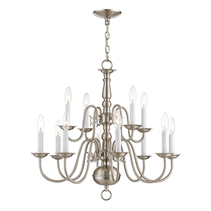 Williamsburgh Brushed Nickel Twelve-Light Chandelier