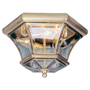 Monterey Antique Brass Three-Light Semi-Flush
