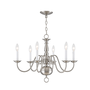 Williamsburgh Six Light Brushed Nickel Chandelier