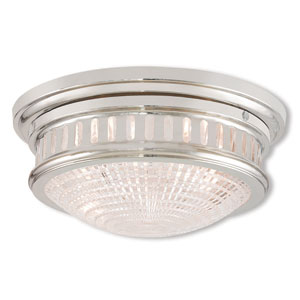 Berwick Polished Nickel Two-Light 13-Inch Ceiling Mount