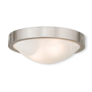 New Brighton Brushed Nickel 12.5-Inch Two-Light Flush Mount
