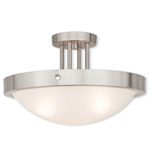 New Brighton Brushed Nickel 16.5-Inch Three-Light Semi Flush Mount