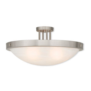 New Brighton Brushed Nickel 24-Inch Five-Light Semi Flush Mount