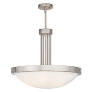 New Brighton Brushed Nickel 24-Inch Five-Light Pendant