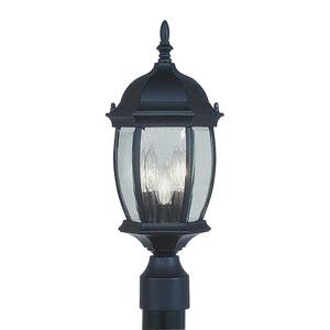 Kingston Black Three-Light Exterior Lantern Fixture