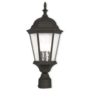 Hamilton Textured Black 9.5-Inch Three-Light Outdoor Post Lantern