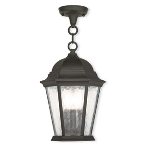 Hamilton Textured Black 9.5-Inch Three-Light Outdoor Chain Hang Pendant