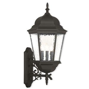 Hamilton Textured Black 12.5-Inch Three-Light Outdoor Wall Lantern