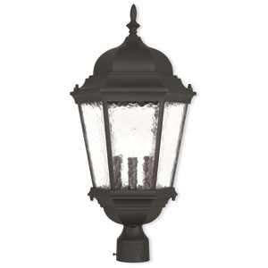 Hamilton Textured Black 12.5-Inch Three-Light Outdoor Post Lantern