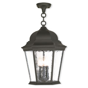 Hamilton Textured Black 12.5-Inch Three-Light Outdoor Chain Hang Pendant