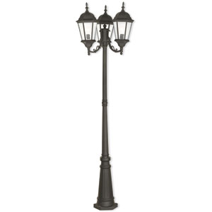 Hamilton Textured Black 24.5-Inch Three-Light Outdoor Post Mount