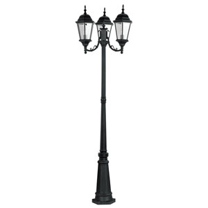 Hamilton Black Three-Light Outdoor Post Mount