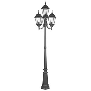 Hamilton Black Four-Light Outdoor Four-Lantern Post Light