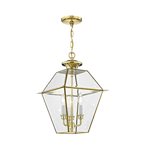Westover Polished Brass Three-Light Outdoor Chain Hang